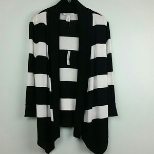 Black and White Striped Cardigan Sweater SZ L